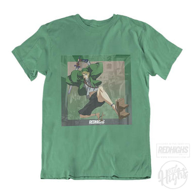 men tshirt - link x mugen - green-Men's T-Shirts-Red Highs-redhighs-streetwear-clothing
