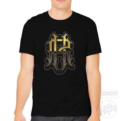 men tshirt - RH monogram - black-Men's T-Shirts-Red Highs-redhighs-streetwear-clothing