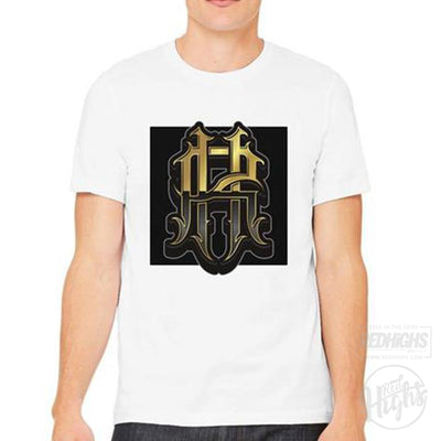 men tshirt - RH monogram - white-Men's T-Shirts-Red Highs-redhighs-streetwear-clothing