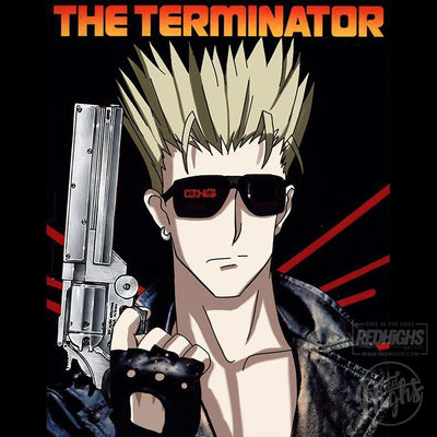 men tshirt - the terminator X Trigun - black-Men's T-Shirts-Red Highs-redhighs-streetwear-clothing
