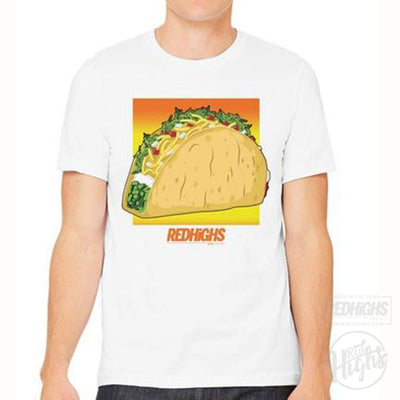 men tshirt - Weed Tacos - white-Men's T-Shirts-Red Highs-redhighs-streetwear-clothing