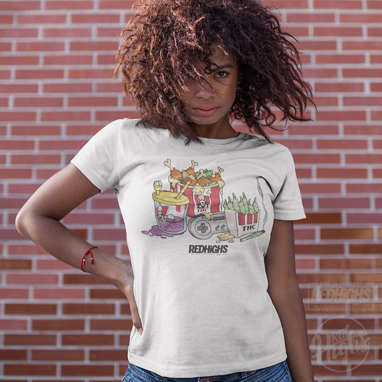 women tshirt - chicken bucket thc - white-Women's T-Shirts-Red Highs-redhighs-streetwear-clothing