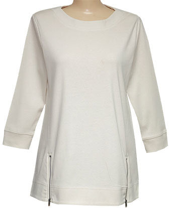 Style # 1113 - 3/4 Sleeve High Low Tunic Top with Side Zips