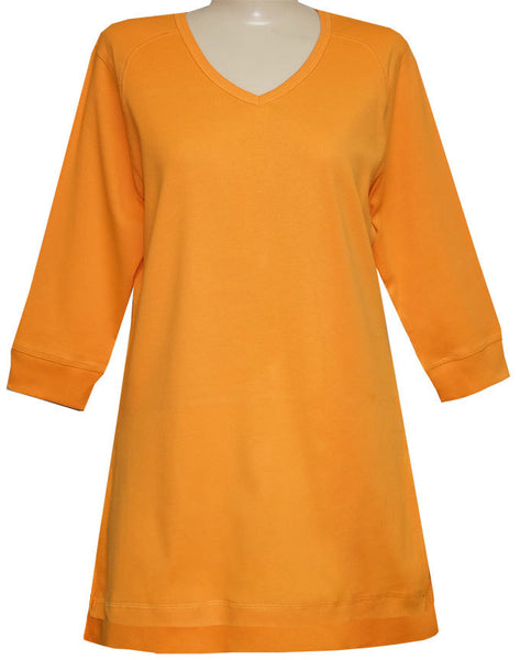 Style # 1114 - 3/4 Sleeve V-Neck Tunic Top with Side Slits