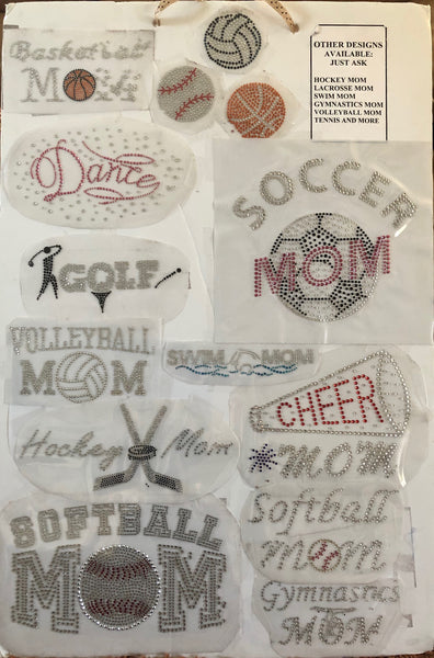 Stone Appliques  Sports click on this page to see more designs
