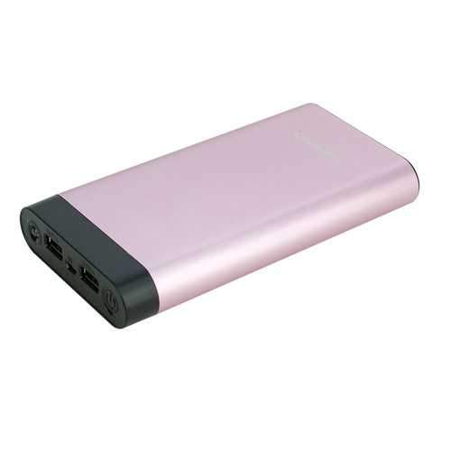 InstaCHARGE 16000mAh Dual USB Power Bank Portable Battery Charger Rose Gold