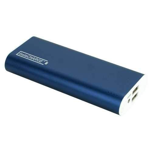 InstaCHARGE 12000mAh Dual USB Power Bank Portable Battery Charger Blue EL-12000U