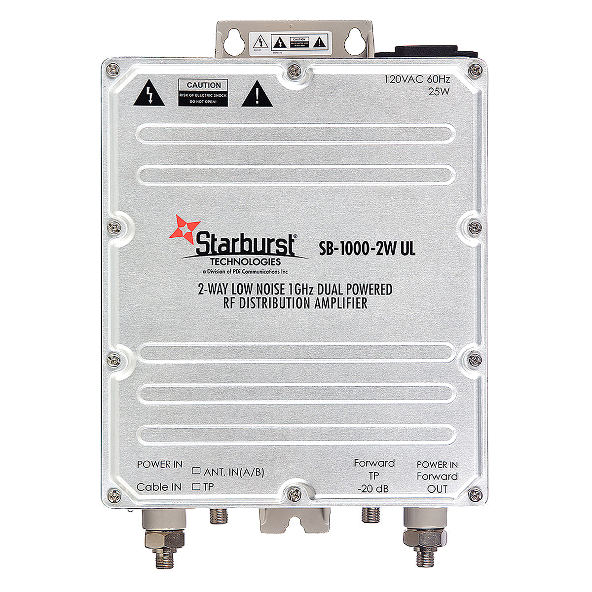 SB-1000-2W-UL CATV Distribution Amplifier Low Noise 33dB Gain 2 Way 1 GHz Dual AC or CATV 60 - 90 Volt Power