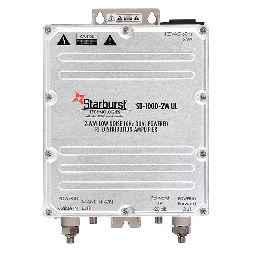 Starburst Technologies SB-1000-2W-UL CATV Distribution Amplifier Low Noise 33dB Gain 2 Way 1 GHz Dual AC or CATV 60 - 90 Volt Power