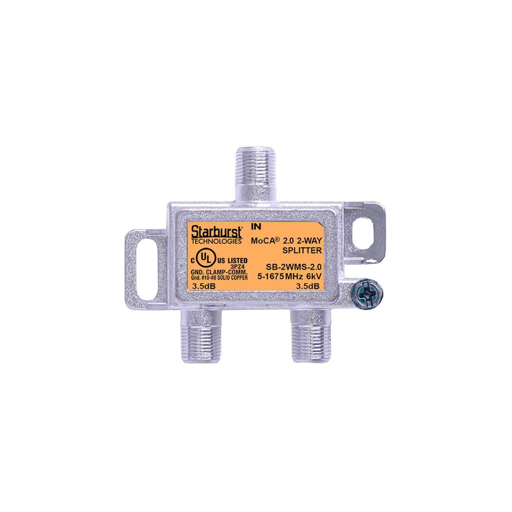 SB-2WMS-2.0 MoCA 2.0 Splitter 2 Way Horizontal 5-1675 MHz Wide Band