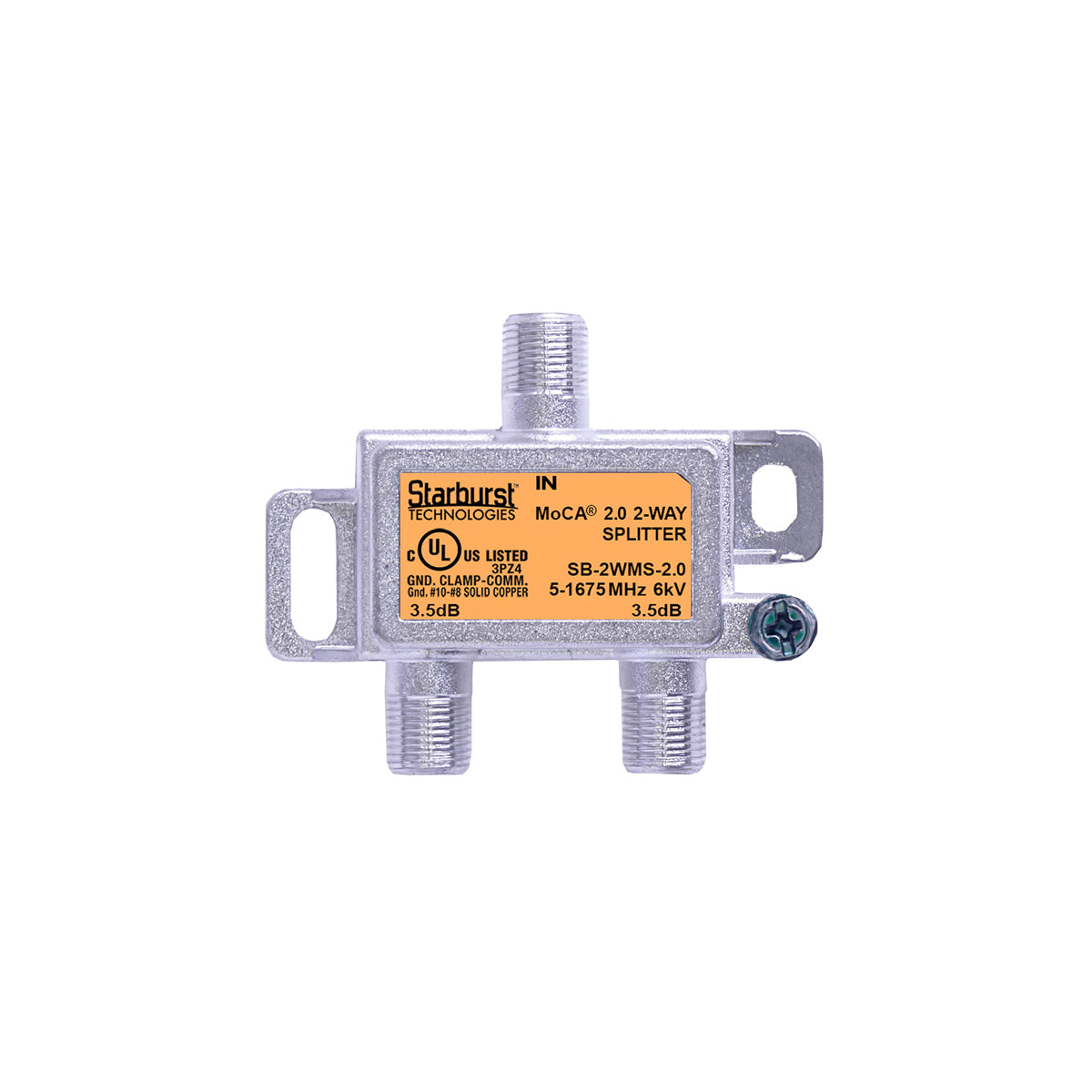 SB-2WMS-2.0 - 2 Way Horizontal Coaxial Cable Splitter, 6Kv Rated, 1GHz, MoCA 2.0, HPNA and DOCSIS 3.1 Compatible, 5-1675 MHz Wide Band For Ethernet Over Coax Universal Home Networking