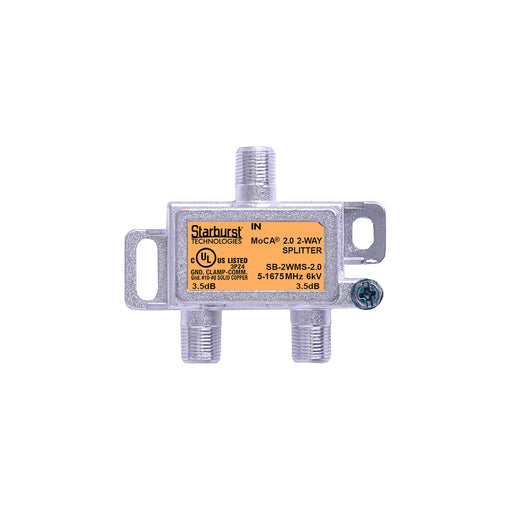 SB-2WMS-2.0 - 2 Way Horizontal Coaxial Cable Splitter, 6Kv Rated, 5-1675 MHz Wide Band For Ethernet Over Coax Universal Home Networking, Compatible With 1GHz, MoCA 2.0, HPNA and DOCSIS 3.1 Networks