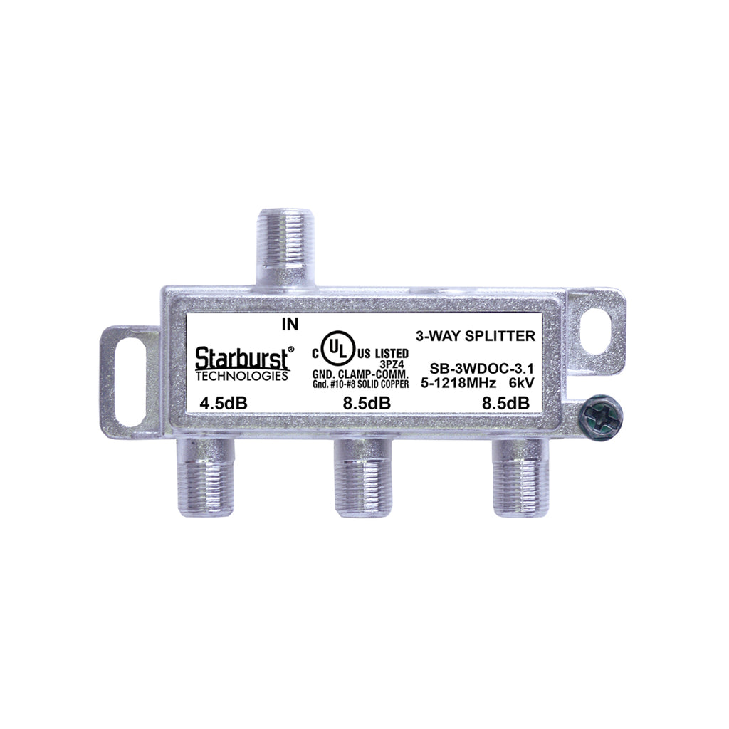 SB-3WDOC-3.1 DOCSIS 3.1 Splitter 3 Way Horizontal 5-1218MHz 6kV UL Listed