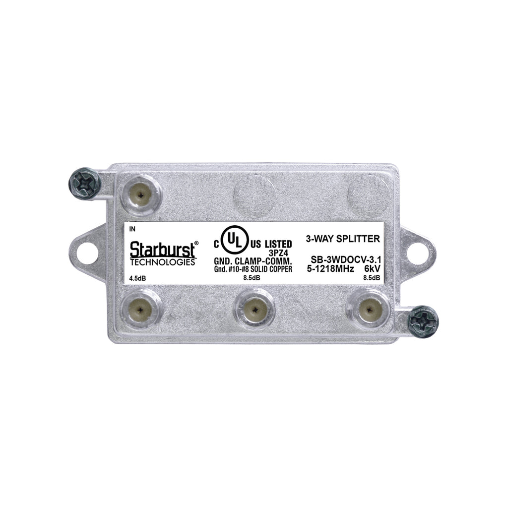 SB-3WDOCV-3.1 DOCSIS Splitter 3 Way Vertical 5-1218MHz 6kV UL Listed
