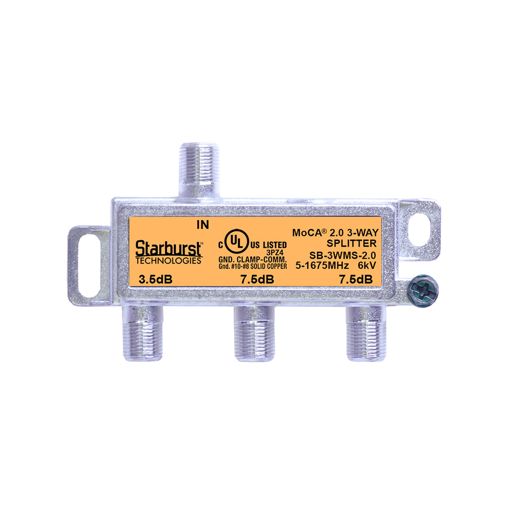 SB-3WMS-2.0 - 3 Way Horizontal Coaxial Cable Splitter, 6Kv Rated, 1GHz, MoCA 2.0, HPNA and DOCSIS 3.1 Compatible, 5-1675 MHz Wide Band For Ethernet Over Coax Universal Home Networking