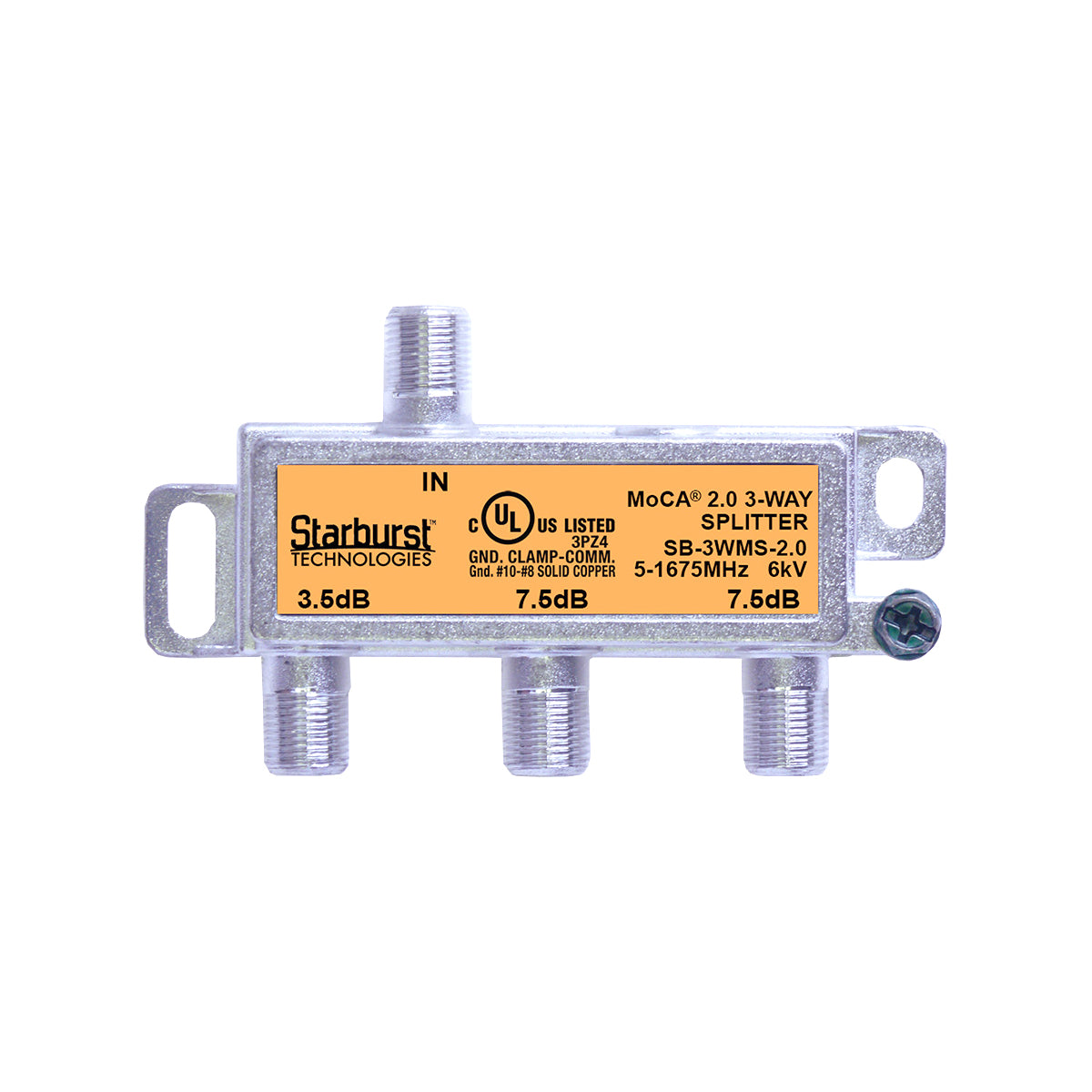 SB-3WMS-2.0 - 3 Way Horizontal Coaxial Cable Splitter, 6Kv Rated, 1GHz, MoCA 2.0, HPNA and DOCSIS 3.1 Compatible, 5-1675 MHz Wide Band For Universal Home Networking