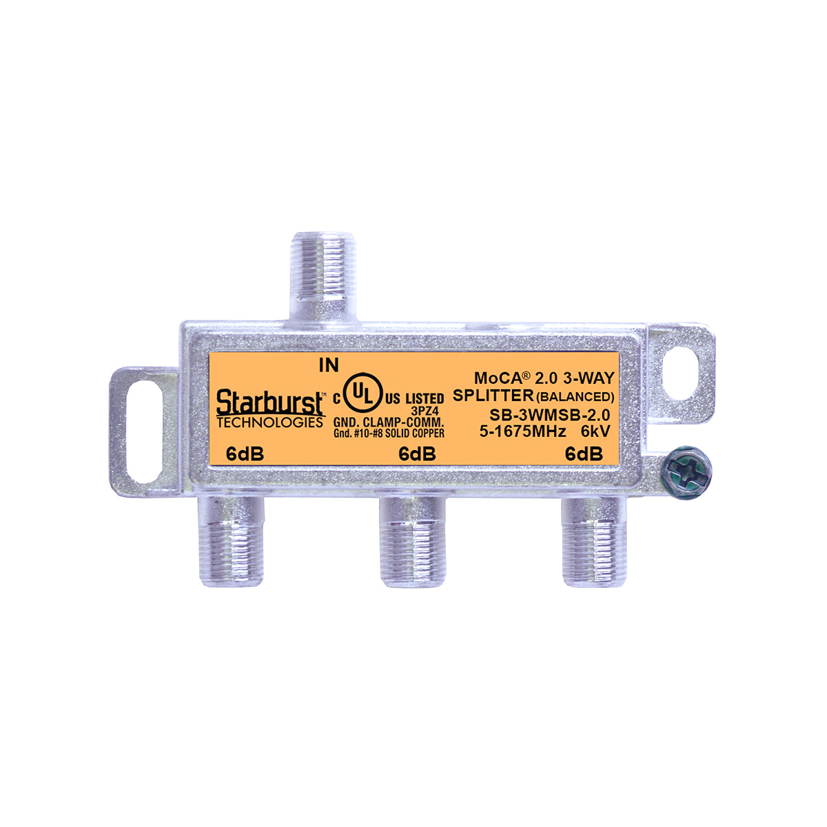SB-3WMSB-2.0 - 3 Way Horizontal Balanced Coaxial Cable Splitter, 6Kv Rated, 5-1675 MHz Wide Band For Ethernet Over Coax Universal Home Networking, Compatible With 1GHz, MoCA 2.0, HPNA and DOCSIS 3.1 Networks