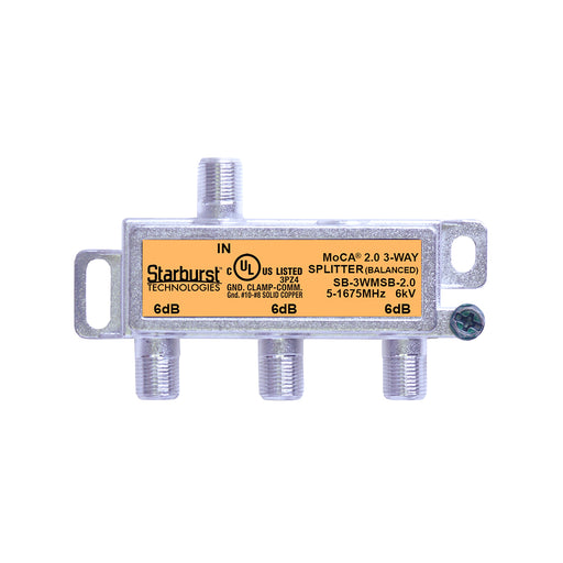 SB-3WMSB-2.0 - 3 Way Horizontal Balanced Coaxial Cable Splitter, 6Kv Rated, 1GHz, MoCA 2.0, HPNA and DOCSIS 3.1 Compatible, 5-1675 MHz Wide Band For Universal Home Networking