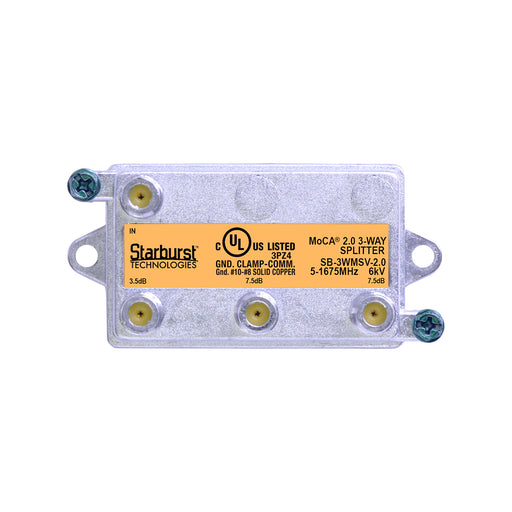 SB-3WMSV-2.0 - 3 Way Vertical Coaxial Cable Splitter, 6Kv Rated, 5-1675 MHz Wide Band For Ethernet Over Coax Universal Home Networking, Compatible With 1GHz, MoCA 2.0, HPNA and DOCSIS 3.1 Networks
