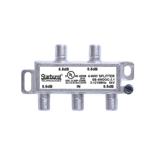 SB-4WDOC-3.1 DOCSIS 3.1 Splitter 4 Way Horizontal 5-1218MHz 6kV UL Listed