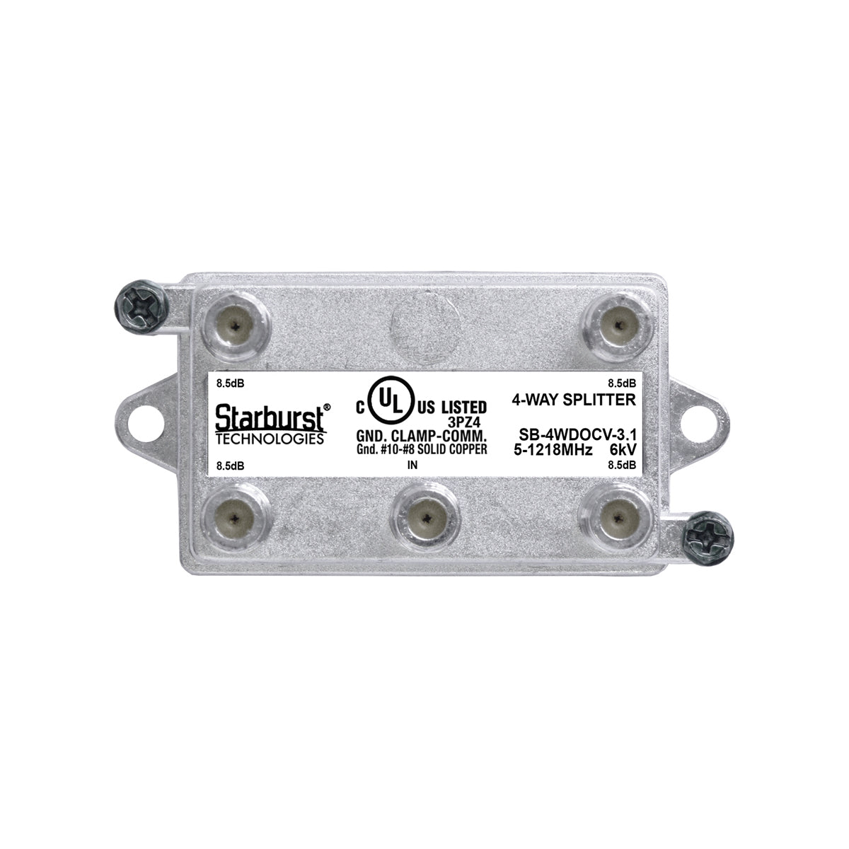 SB-4WDOCV-3.1 DOCSIS Splitter 4 Way Vertical 5-1218MHz 6kV UL Listed