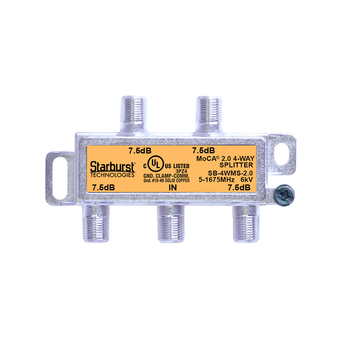 SB-4WMS-2.0 - 4 Way Horizontal Coaxial Cable Splitter, 6Kv Rated, 5-1675 MHz Wide Band For Ethernet Over Coax Universal Home Networking, Compatible With 1GHz, MoCA 2.0, HPNA and DOCSIS 3.1 Networks
