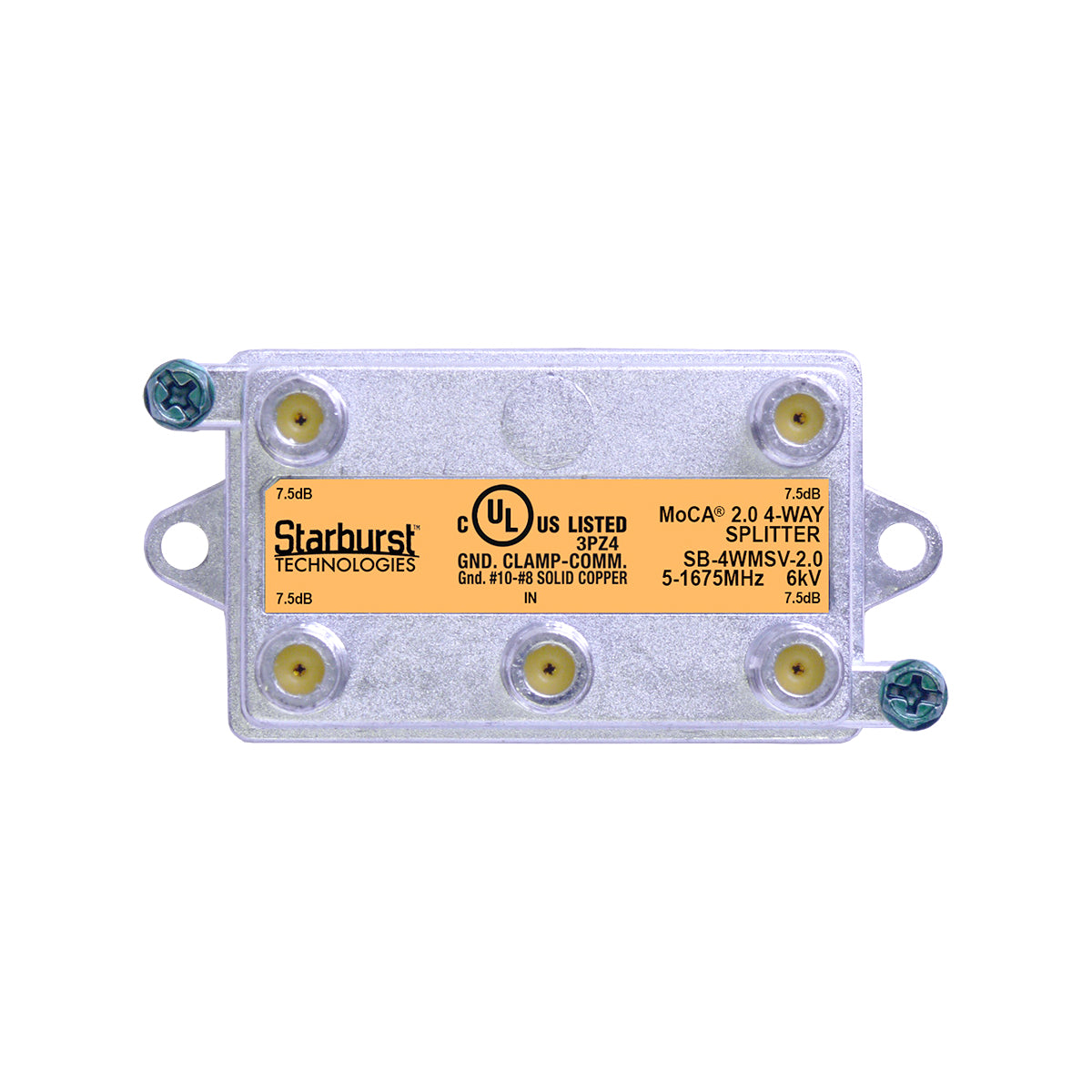 SB-4WMSV-2.0 MoCA 2.0 Splitter 4 Way Vertical 5-1675MHz Wide Band