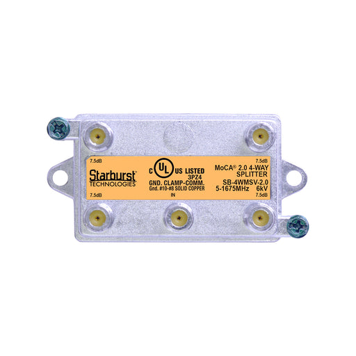 SB-4WMSV-2.0 - 4 Way Vertical Coaxial Cable Splitter, 6Kv Rated, 5-1675 MHz Wide Band For Ethernet Over Coax Universal Home Networking, Compatible With 1GHz, MoCA 2.0, HPNA and DOCSIS 3.1 Networks