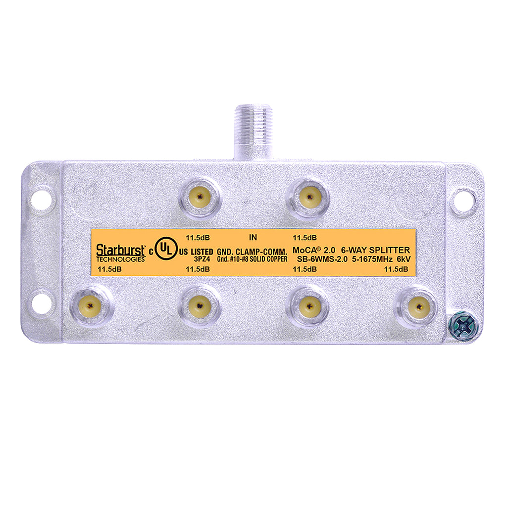 SB-6WMS-2.0 - 6 Way Vertical Coaxial Cable Splitter, 6Kv Rated, 5-1675 MHz Wide Band For Ethernet Over Coax Universal Home Networking, Compatible With 1GHz, MoCA 2.0, HPNA and DOCSIS 3.1 Networks