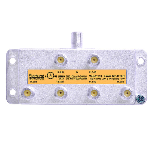 SB-6WMS-2.0 MoCA 2.0 Splitter 6 Way Vertical 5-1675MHz Wide Band