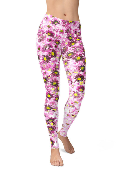 Purple Daisies Leggings