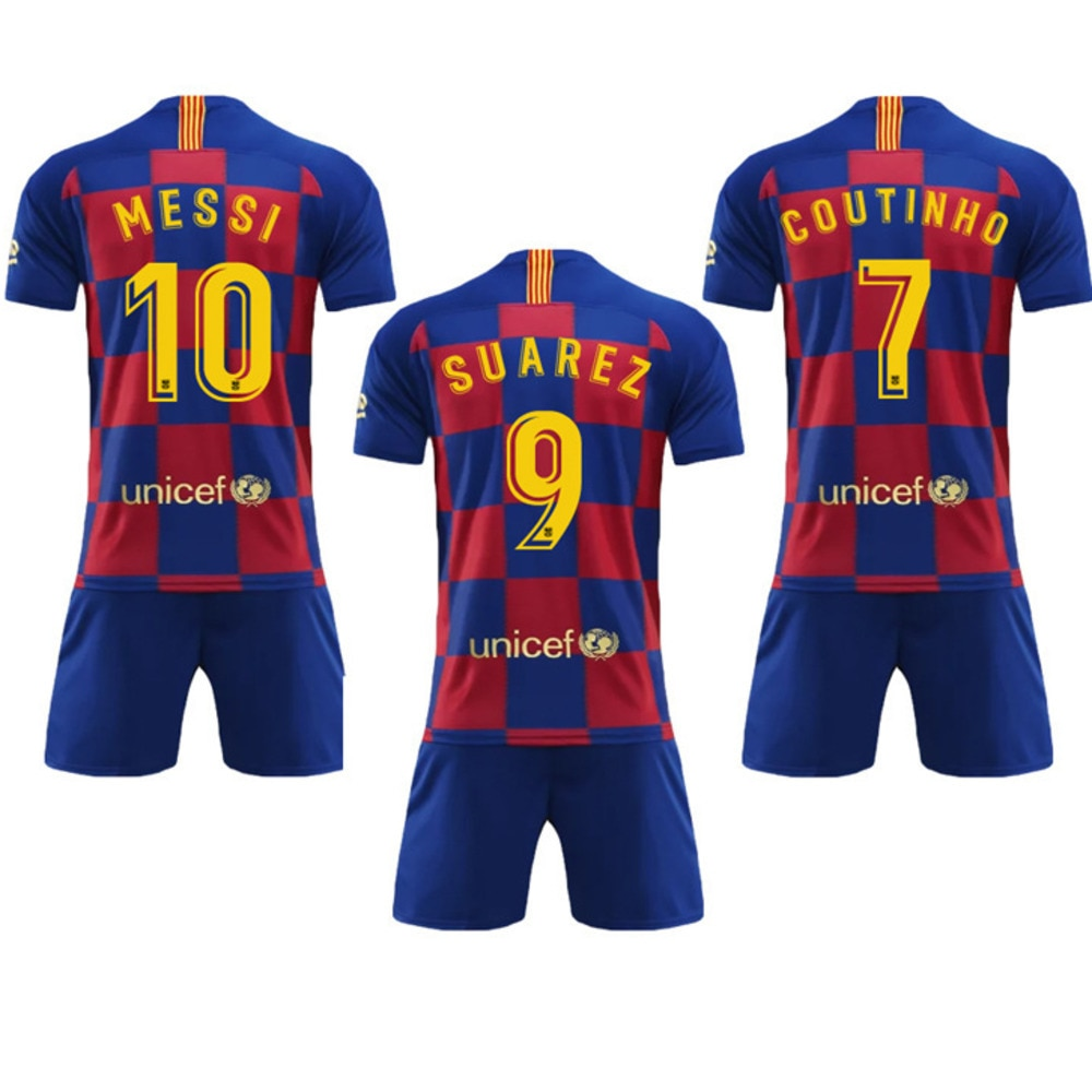 official photos fb8e1 b3361 2019 2020 Barcelona Home Plaza Tracksuit New Barcelona 10 Messi Sports  Clothing Suit Men Shirt And Pants
