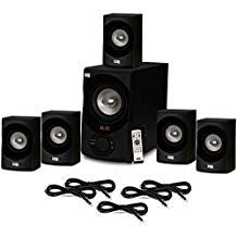 Acoustic Audio AA5171 Home Theater 5.1 Bluetooth Speaker System with FM and 5 Extension Cables