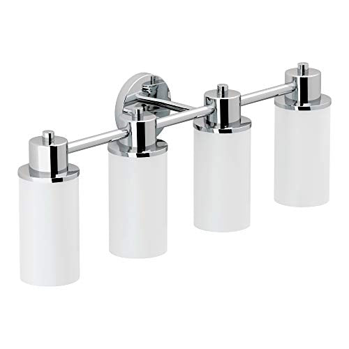 Moen DN0764CH Iso 4-Light Dual-Mount Bath Bathroom Vanity Fixture with Frosted Glass, Chrome
