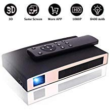 Mini Projector, MMTX VK25 Upgraded Portable Professional Video Projectors with 2000 Lumens, 1080P Full HD 8400mAh Rechargeable LED Projector with HDMI, 3D, USB, WiFi for Home Theater Party Business