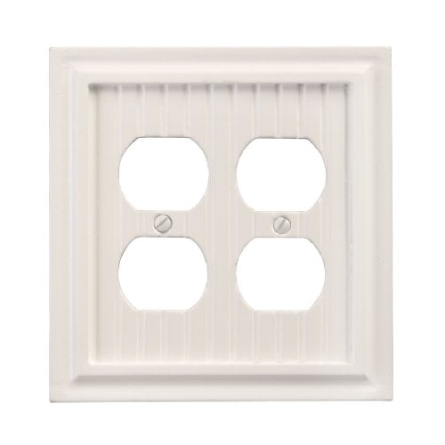 AmerTac 179DDW Cottage Composite Wood Double Duplex Wallplate, White