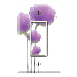 Graphics Wallplates - Purple Watercolor Flowers - Single Rocker/GFCI Outlet Wall Plate Cover