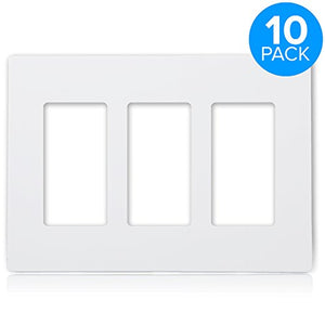 Maxxima 3 Gang Decorative Outlet Screwless Wall Plate, White, Triple Outlet, Standard Size (Pack of 10)