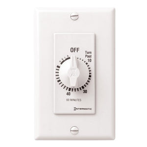 Intermatic FD60MHW 60-Minute Spring-Loaded Wall Timer, White