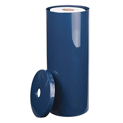 Mdesign Modern Plastic Toilet Tissue Paper Roll Holder Canister Stand With Lid Vertical Bathroom Storage For 3 Rolls Of Toilet Tissue Holds Large