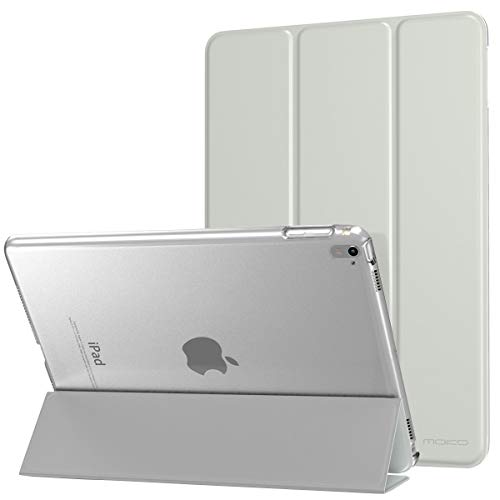 MoKo Case Fit iPad Pro 9.7 - Slim Lightweight Smart Shell Stand Cover with Translucent Frosted Back Protector Fit Apple iPad Pro 9.7 Inch 2016 Release Tablet, Silver (with Auto Wake/Sleep)