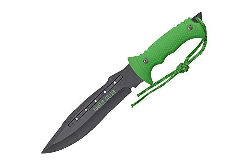 "Wartech H-4732 Biohazard 13"" Overall Zombie Black Blade with Neon Green Handle"