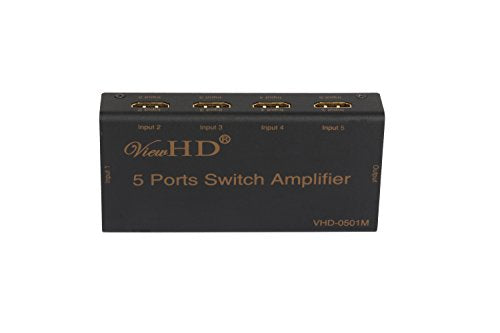ViewHD Premium Five Port HDMI 5x1 Powered Switch Support 3D & 1080P | Model: VHD-0501M