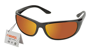 Elvex RSG200 Impact Sunglasses, Black Frame/Red Mirror Lens