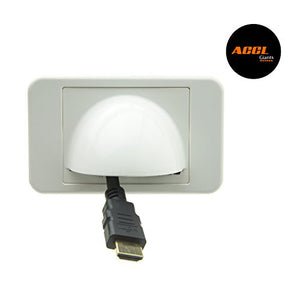 ACCL Wall Plate Insert, White with Brush Cable Pass Through for Home/Office or Hotel, 50 Pack