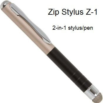 Zip Stylus Capacitive 2 In 1 Stylus Ink Pen Combo For Apple I Pad, I Pad2, Samsung Galaxy, Black Berry