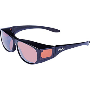 Global Vision Eyewear Escort Safety Glasses with Gloss Black Frames and Driving Mirror Lenses