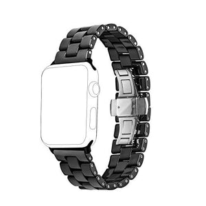 Ceramic Band Strap Fashionable Smartwatch Wristband Bracelet Compatible with 44mm Apple Watch Series 5/4, 42mm Apple Watch Series 3/2/1 (Black,Style 2)