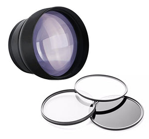 Sony FDR-AX33 2.2X High Definition Super Telephoto Lens + 52mm 3 Piece Filter Kit + Cloth