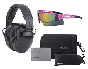 Titus Triple Black B4-26/32 NRR Noise Reduction Hearing Protection & Sport Style Safety Glasses Combos (32db Original Plain, Pink Frame - Mirrored Lens)